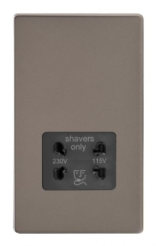 Varilight XDRSSBS Screwless Pewter Dual Voltage Shaver Socket 240V/115V